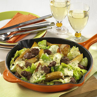 Ground Beef, Cabbage and Potatoes with Hollandaise Sauce.
