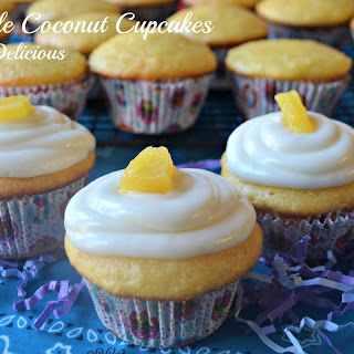 Pineapple Coconut Cupcakes Happy Birthday #SundaySupper