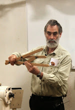 "Photo: Joe made his own ""Golden Ratio"" calipers.  Objects whose dimensions incorporate variations of this value (1.62, 0.62, and 0.38) are widely recognized to have a pleasant appearance to the human eye."