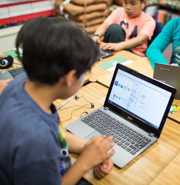 middle school student coding