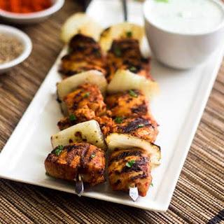 Grilled Spicy Tomato Chicken Kebab Recipe with Yogurt Mint Sauce.