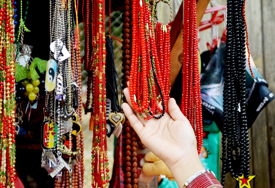 Colourful jewellery in a market