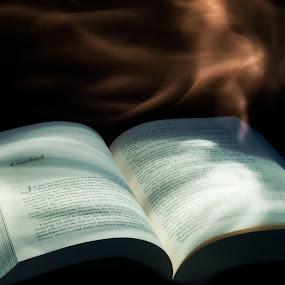 Enchanted. by Eliani Miranda - Abstract Fine Art ( cool, words, dark, book, spirit, smoke, fire )