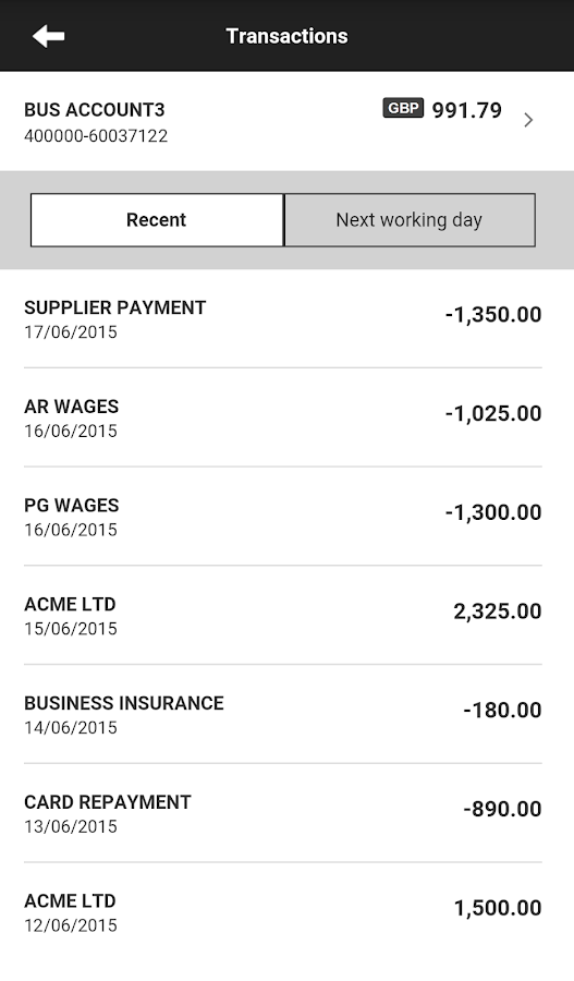 HSBC Business Mobile- screenshot