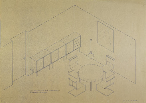 Dining and living room with side-by-side individual types (from Alfred Arndt's and Lilly Reich's Interior Works class)