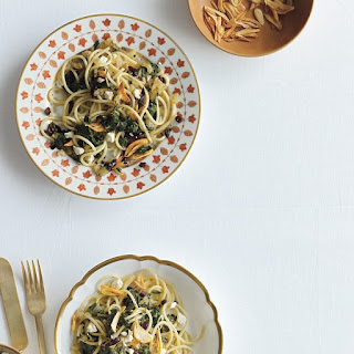Spaghetti and Swiss Chard with Garlic Chips