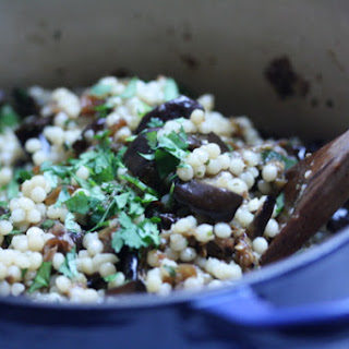 Israeli Couscous Salad with Roasted Eggplant.