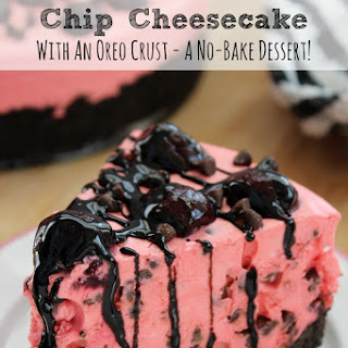 No Bake Cherry Chocolate Chip Cheesecake With Oreo Crust