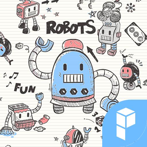 Doodle Robot Launcher theme