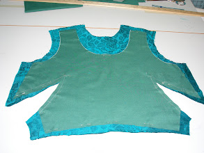 Photo: original bodice front and new bodice underlining