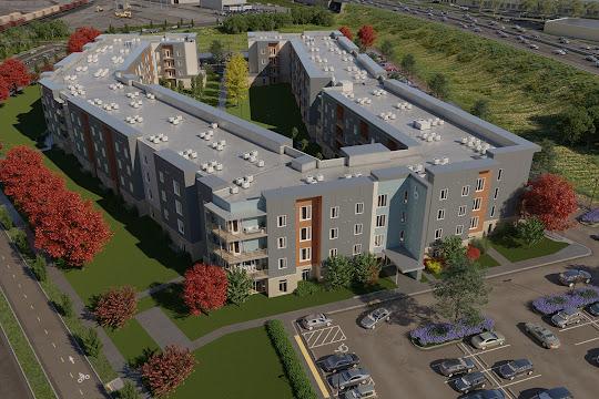 Aerial rendering of luxury community with modern buildings