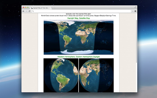 Daylight map time zone chrome web store shows the extent of day and night around the world world clock shows current local time in countries in all time zones gumiabroncs Gallery