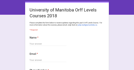University of Manitoba Orff Levels Courses 2018