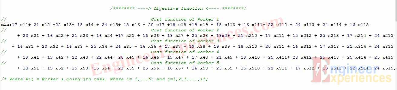 Objective Function in LP Solver software for solving optimization problem