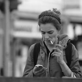 Street Photography by Ioan G Hiliuta - People Street & Candids ( phone, girl, hippie, distracted, smoking, backpack, mobile )