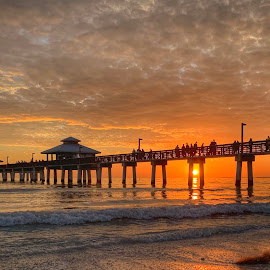 Fort Myers Beach Pier by Lorna Littrell - Instagram & Mobile iPhone ( pier, waterscape, sunset, beach, iphone, landscape,  )