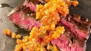 Skirt Steak with Roasted Pepper Salsa - Michael Symon, the Chew