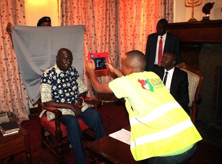 Former President Daniel arap Moi registers for Huduma Namba at his home in Kabarak Gardens, Nairobi, on Friday, May 17, 2019.