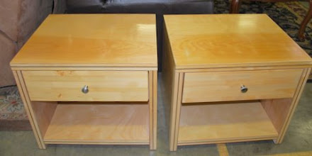 Photo: Nightstands made with our torsion box technology, with white cedar veneer and eucalyptus inlay. Nice big storage shelf below large drawer