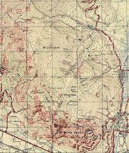 Photo: wycinek z mapy wydanej przez służby kartograficzne II Korpusu w 1945 roku obejmujące bezpośredni rejon działań