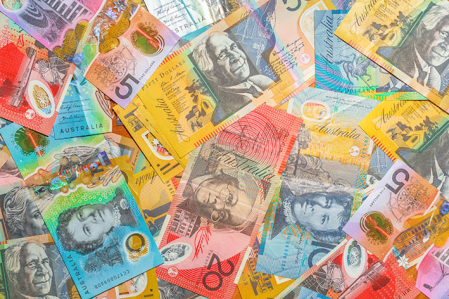 Australian Banknotes Background Of Dollars Of Australia, Aud Cur