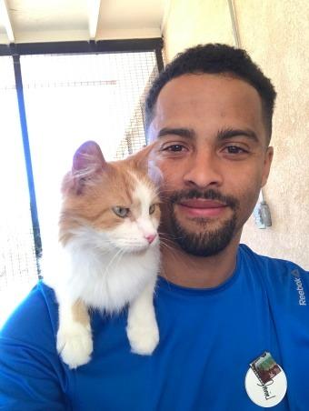 cat sitter with his cat