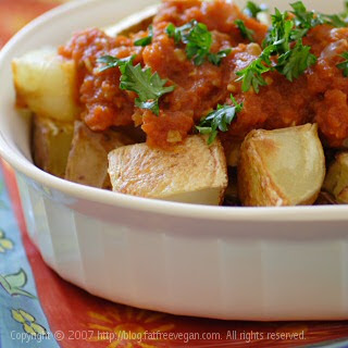 Patatas Bravas (Baked Spanish Potatoes with Spicy Tomato Sauce)