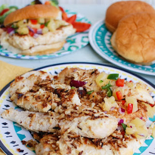 Macadamia Coconut Crusted Chicken with Pineapple Salsa.