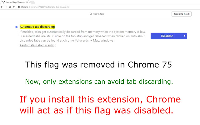 Disable automatic tab discarding