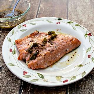 Pan Seared Salmon with Mustard Sauce.