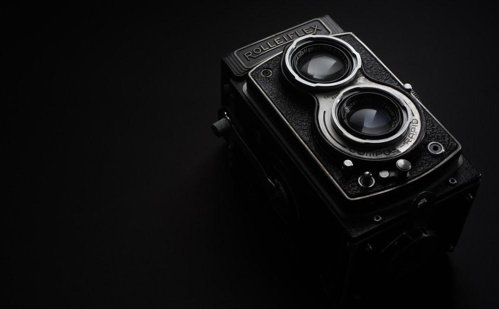 black Rolleiflex camera grayscale photo