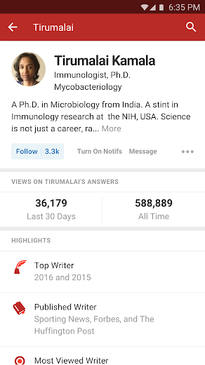 Screenshot 3 for Quora's Android app'