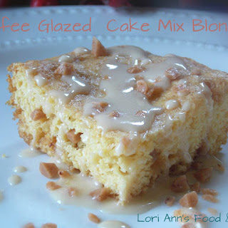 Toffee Glazed Cake Mix Blondies