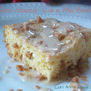 Toffee Glazed Cake Mix Blondies.