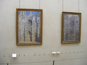 Photo: Some of the Monet series in the early 1890's of the west door of the Rouen cathedral, which we saw in person a few years ago. Monet painted this same scene in various weather conditions and times of day, to show the influence of light and shadow.