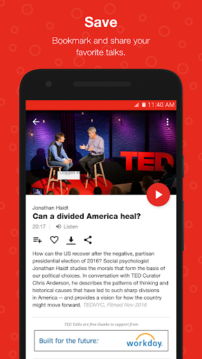 Screenshot 1 for TED's Android app'