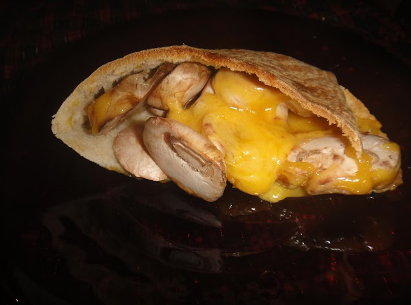 Grilled Pita, Cheddar, Sprouts,& Mushrooms Recipe