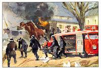 Transporter brandbil vid stallet