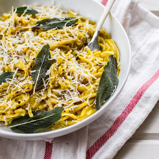 Linguine with Roasted Butternut Squash Sauce and Crispy Sage.
