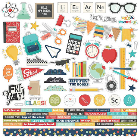 Simple Stories Sticker Sheet 12X12 - School Life