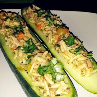 Orzo Tuna Salad Cucumber Boats