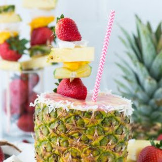 Pineapple Strawberry Smoothie in a Pineapple Cup.