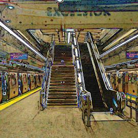 Subway Station by Edward Gold - Digital Art Places ( digital photography, subway station, subway, escalator, stairs, artistic, subway trains, digital art,  )