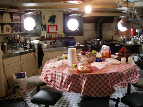 Photo: The Mary Whalen's galley - a little untidy today but isn't it a nice space? Afraid I didn't get much more of a tour - I would have loved to hear what Tugster Will had to say but one of the first people I ran into at the party was a friend from Pier 63, Pam Hepburn, captain and long-time owner of the 1907 tug Pegasus. She immediately asked if I wanted a ride back to Manhattan - then realized that I live in Brooklyn so probably wasn't going to Manhattan - but if the Pegasus was going to Manhattan and Pam was willing to let me come along for a ride, heck, I was going to Manhattan!