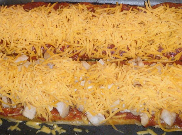 1 1/2CUP MILD CHEDDAR SHREDDED CHEESE ON THE TOP OF THE CIABATTA BREADS