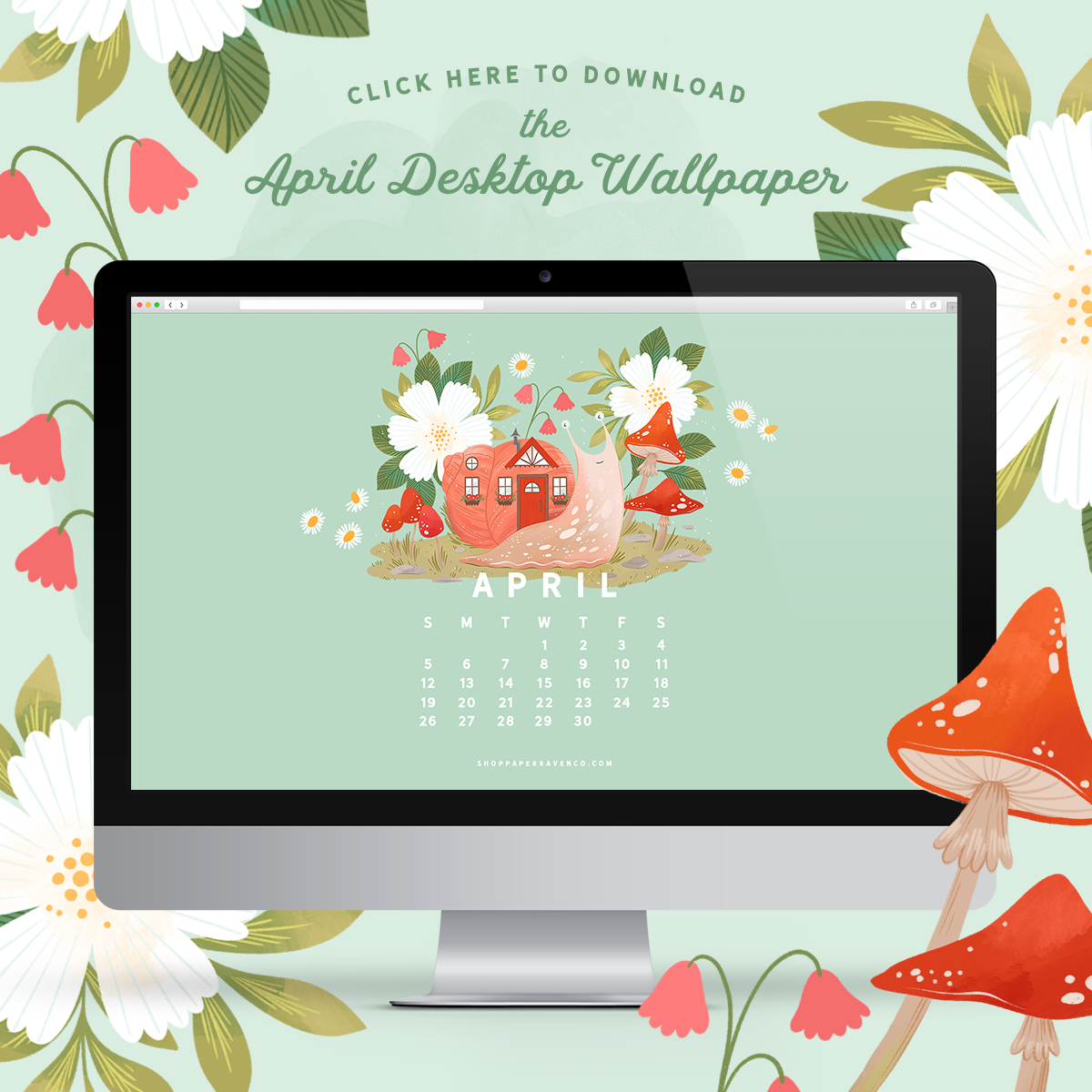 April 2020 Illustrated Desktop Wallpaper by Paper Raven Co. | www.ShopPaperRavenCo.com #dressyourtech #desktopwallpaper #desktopdownload
