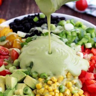 Vegan Mexican Chopped Salad with Avocado Dressing Recipe