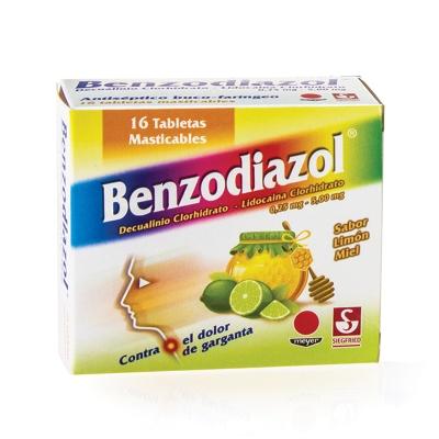 Dequalinio + Lidocaina Benzodiazol Limon Miel 0,25/5Mg x16 Tabletas Meyer