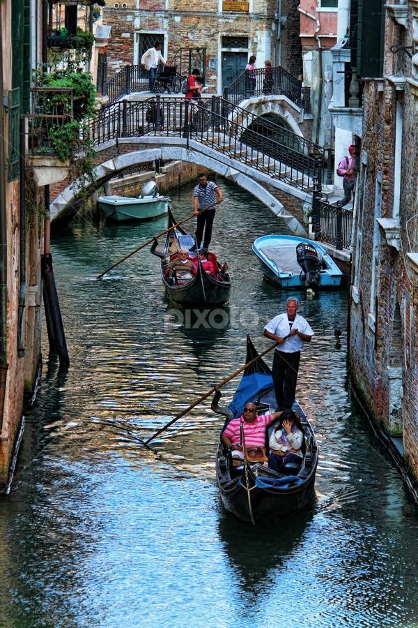 Venezia - Gondole by Dominic Jacob - City,  Street & Park  Street Scenes ( venezia, gondola, italia, venice, venise, canal, italy, gondole,  )