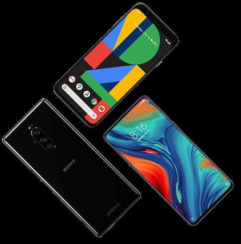Collage di dispositivi con sistema operativo Android